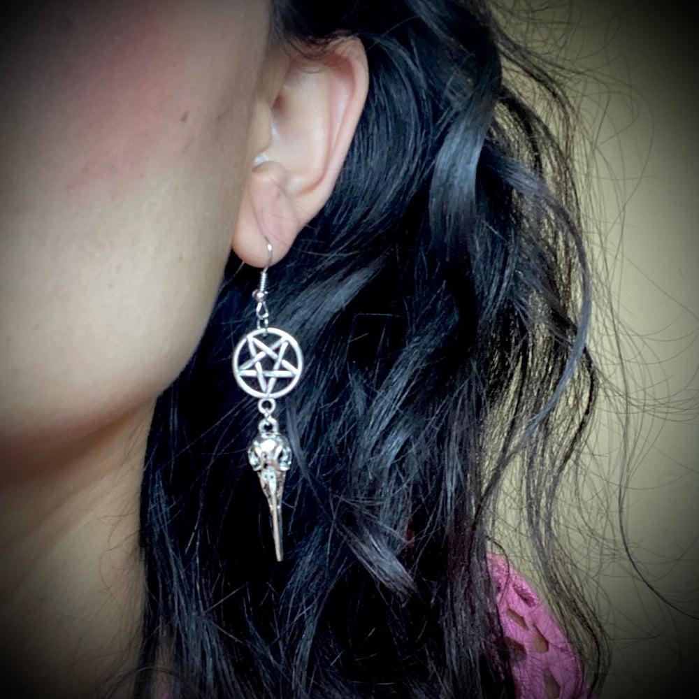 Raven Skull Pentagram Earrings