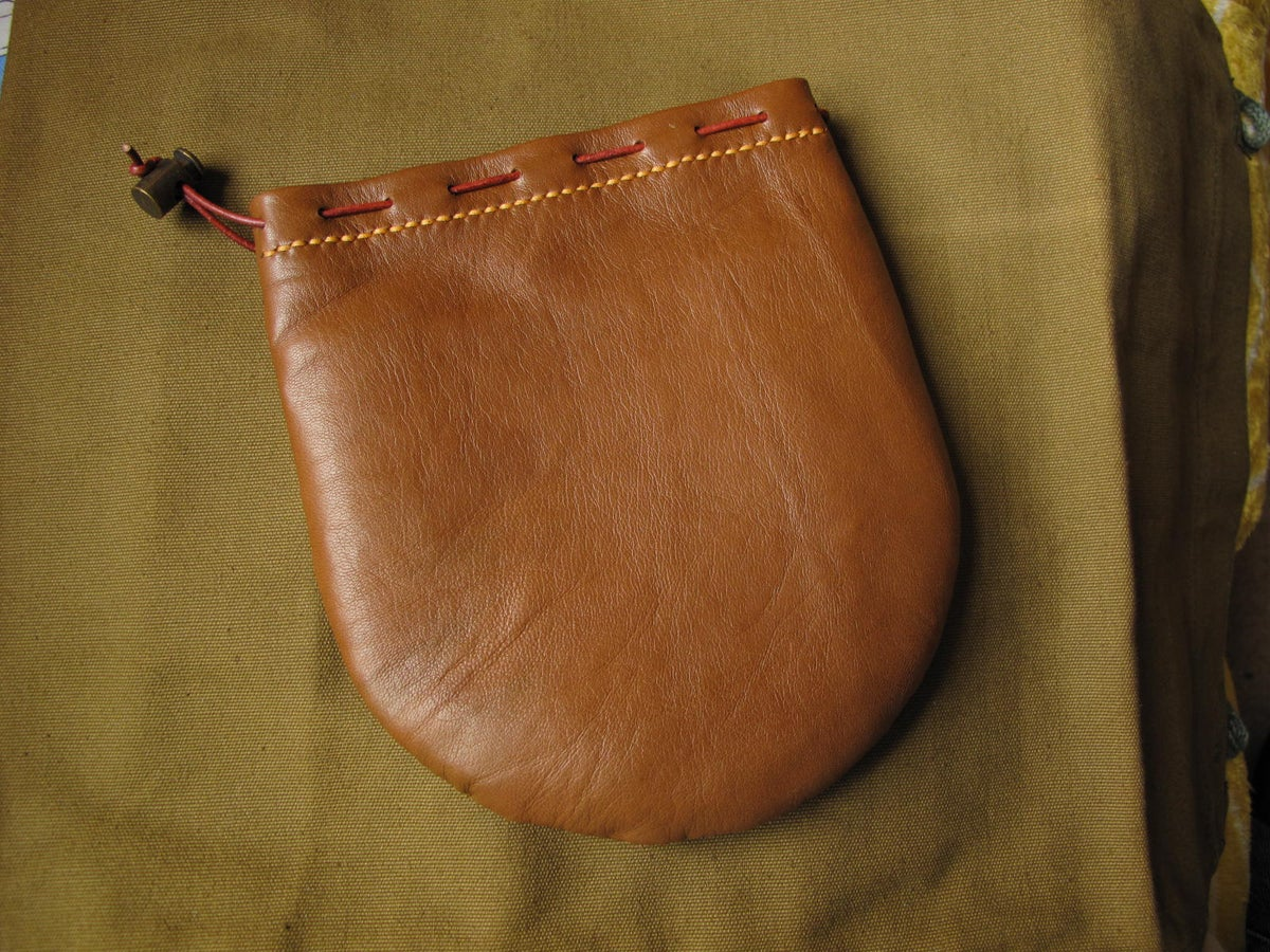 Image of Tan leather centrepin reel pouch