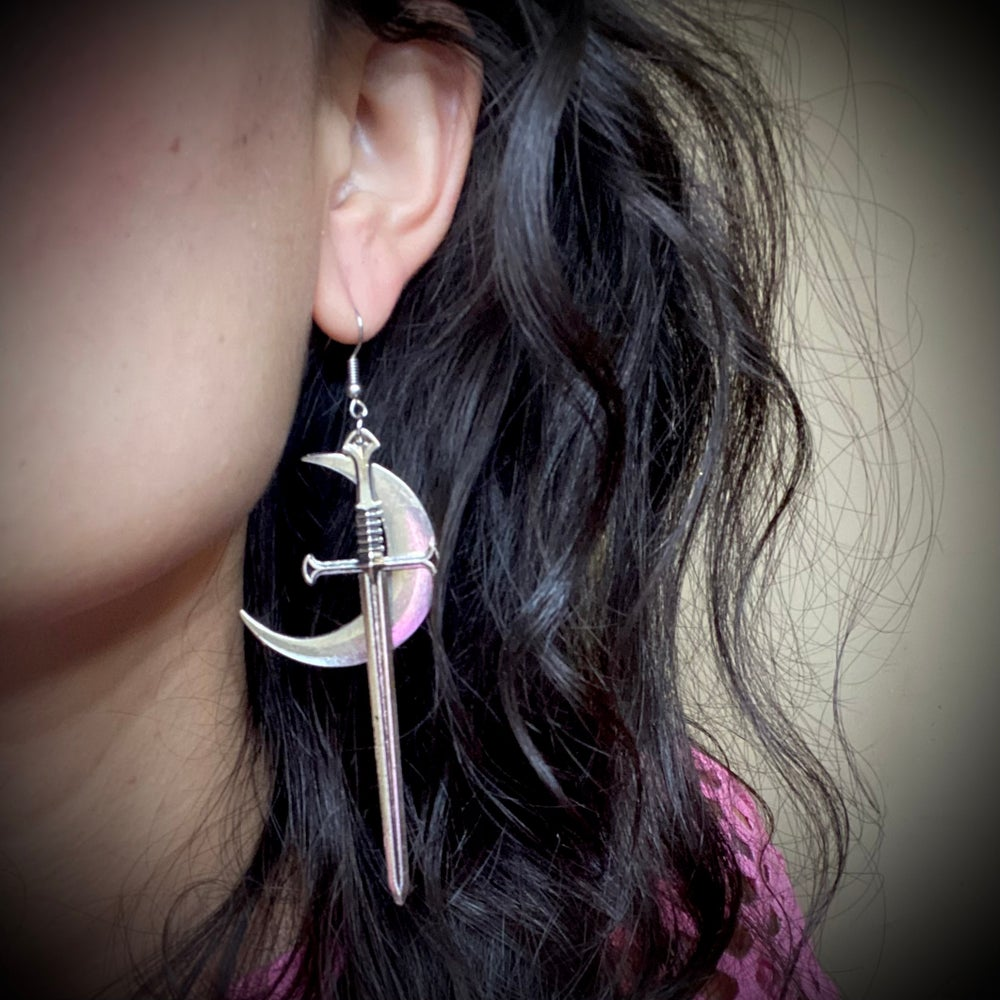 Crescent Moon Dagger Earrings