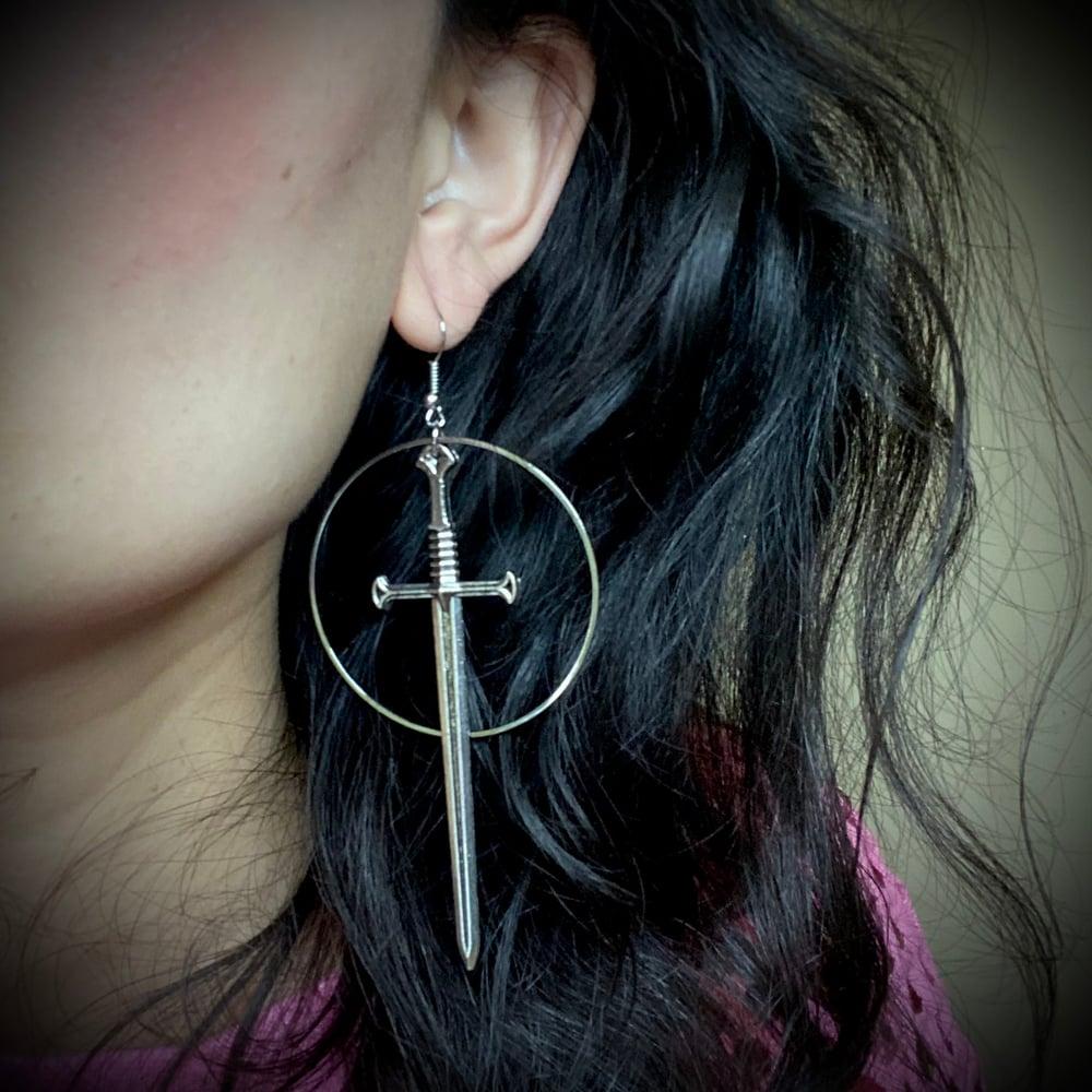 Long Dagger Halo Earrings