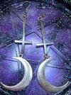 Crescent Moon Inverted Cross Earrings