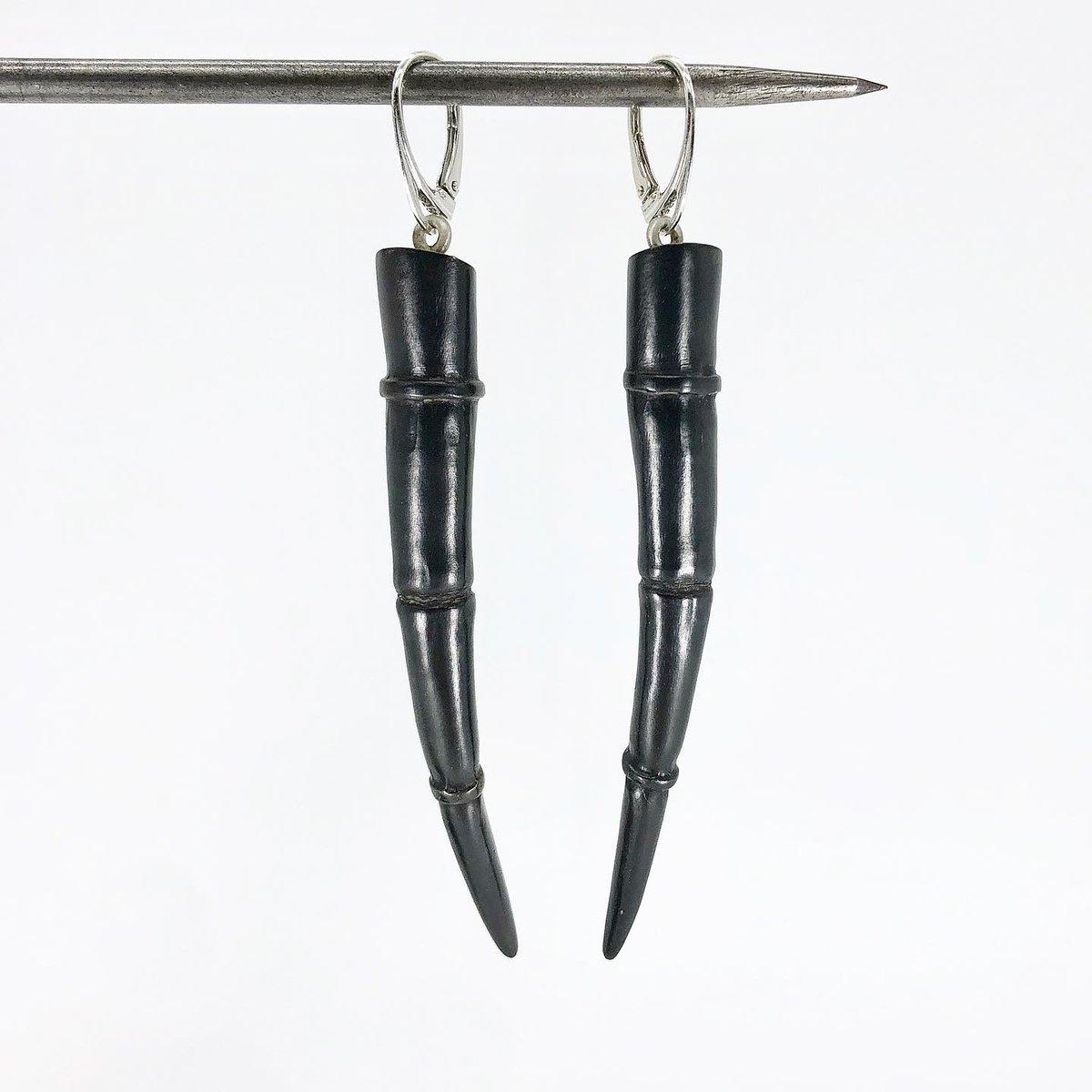 Image of Tendril Earrings, Black #10