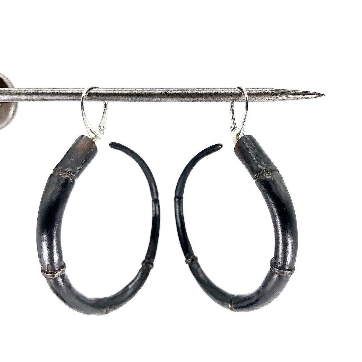 Image of Tendril Hoop Earrings, Black #1
