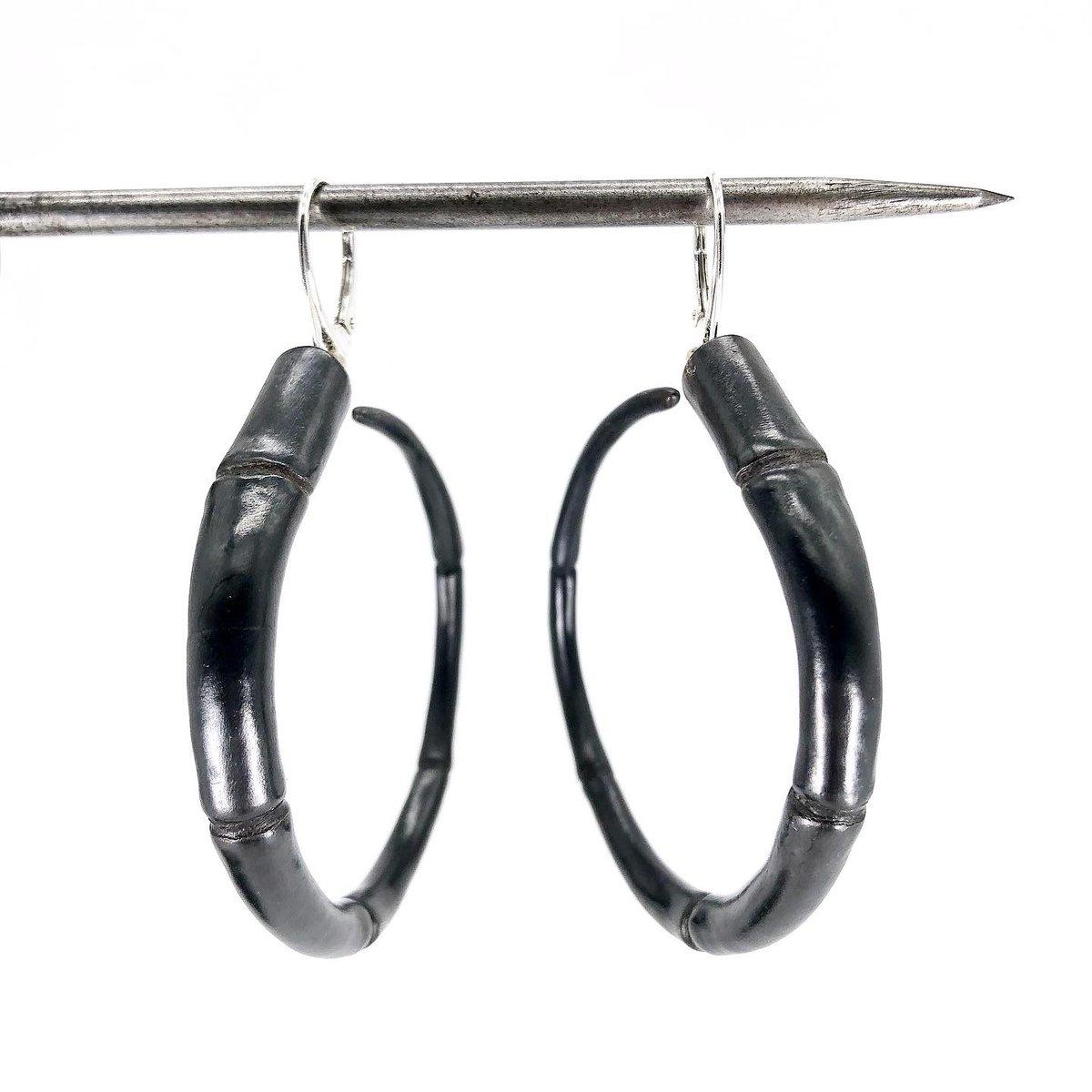 Image of Tendril Hoop Earrings, Black #2