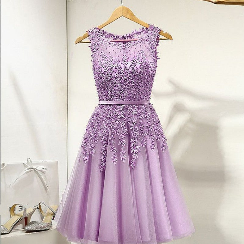 Cute PurpleTulle Short Beaded Lace Prom Dress, Knee Length Homecoming Dress