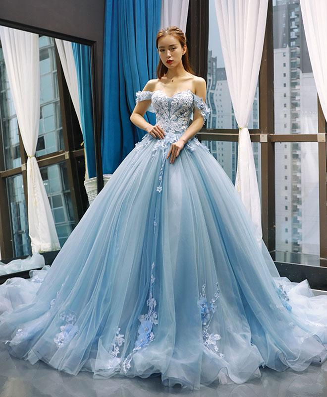 Charming Flowers Puffy Sweetheart Flowers Lace Blue Sweet 16 Gown, Off Shoulder Long Party Dress