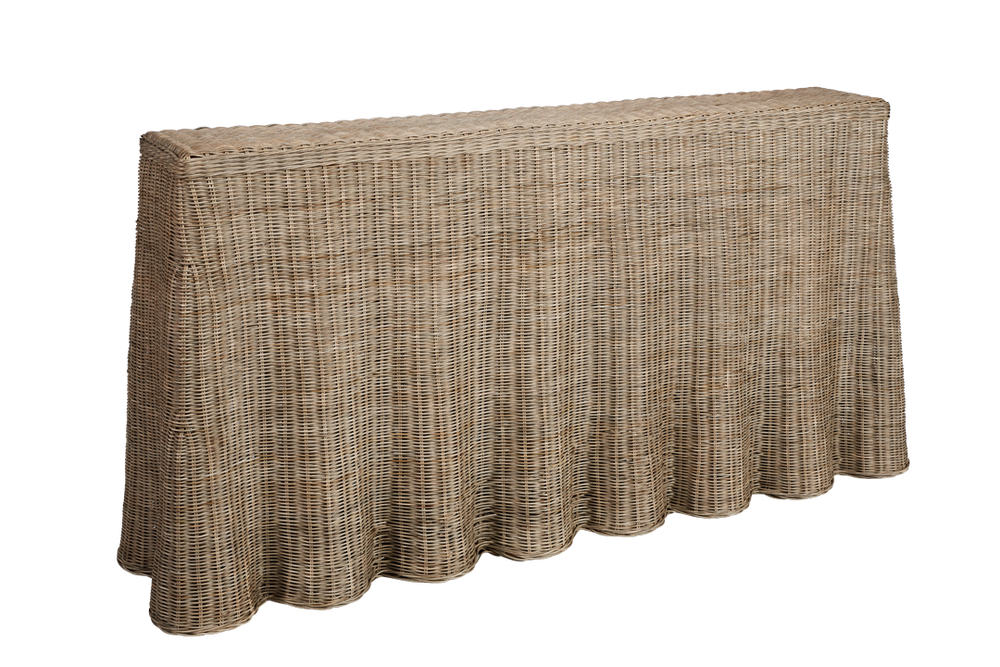 Image of Skirted Rattan Console Table