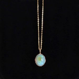 Image of Natural Fire Opal cabochon oval shape 14k gold necklace