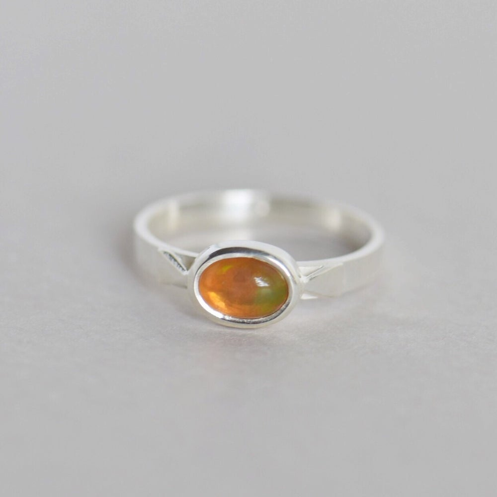 Image of Natural Fire Opal cabochon oval shape flat wide band silver ring