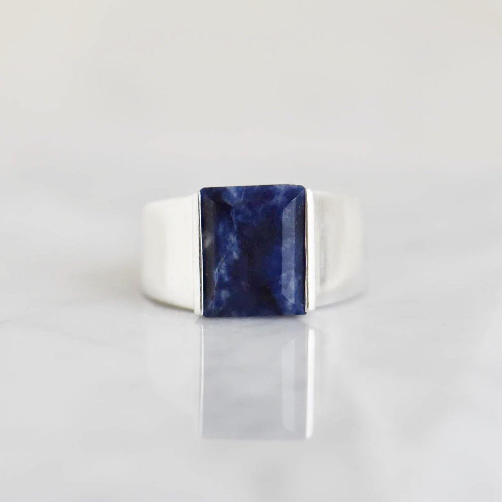 Image of Sodalite rectangular cut wide band silver ring