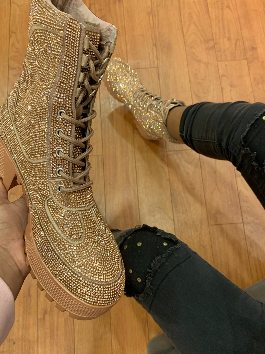 Image of KINGSTON LETS DO THIS RHINESTONE COMBAT BOOTS-MULTI COLOR