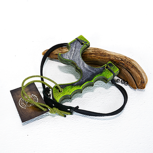 Image of Slingshot, The Menace, Green Hornet Dymalux Wood, Survivalist Sling Shot, Left or Right Handed