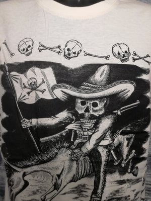 Image of Day of the dead pirate skeleton rider mens t shirt