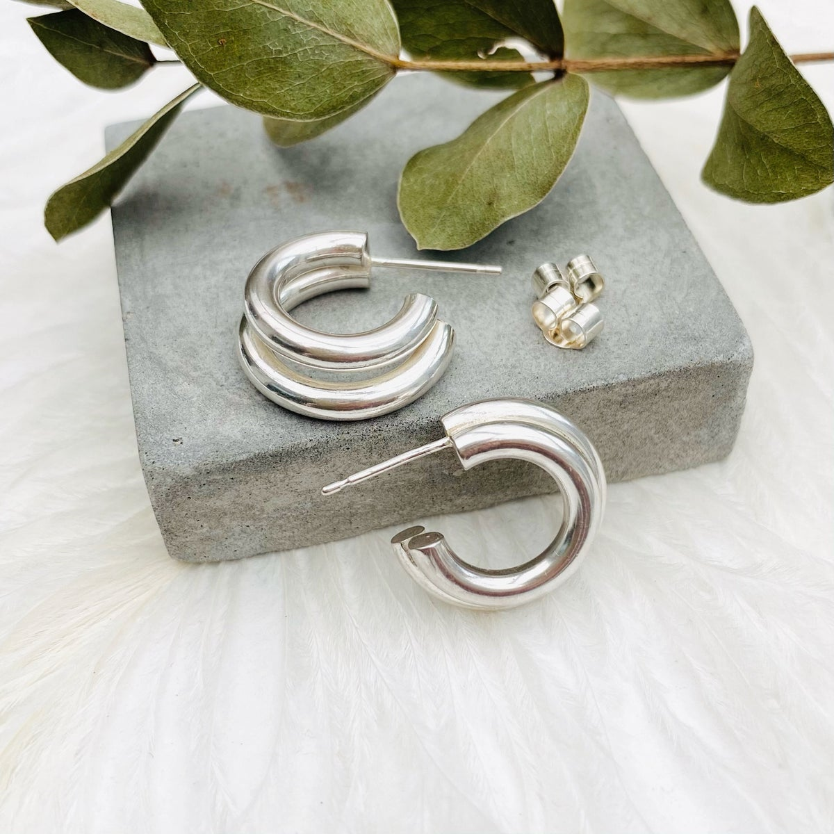 Image of Silver chunky double hoops