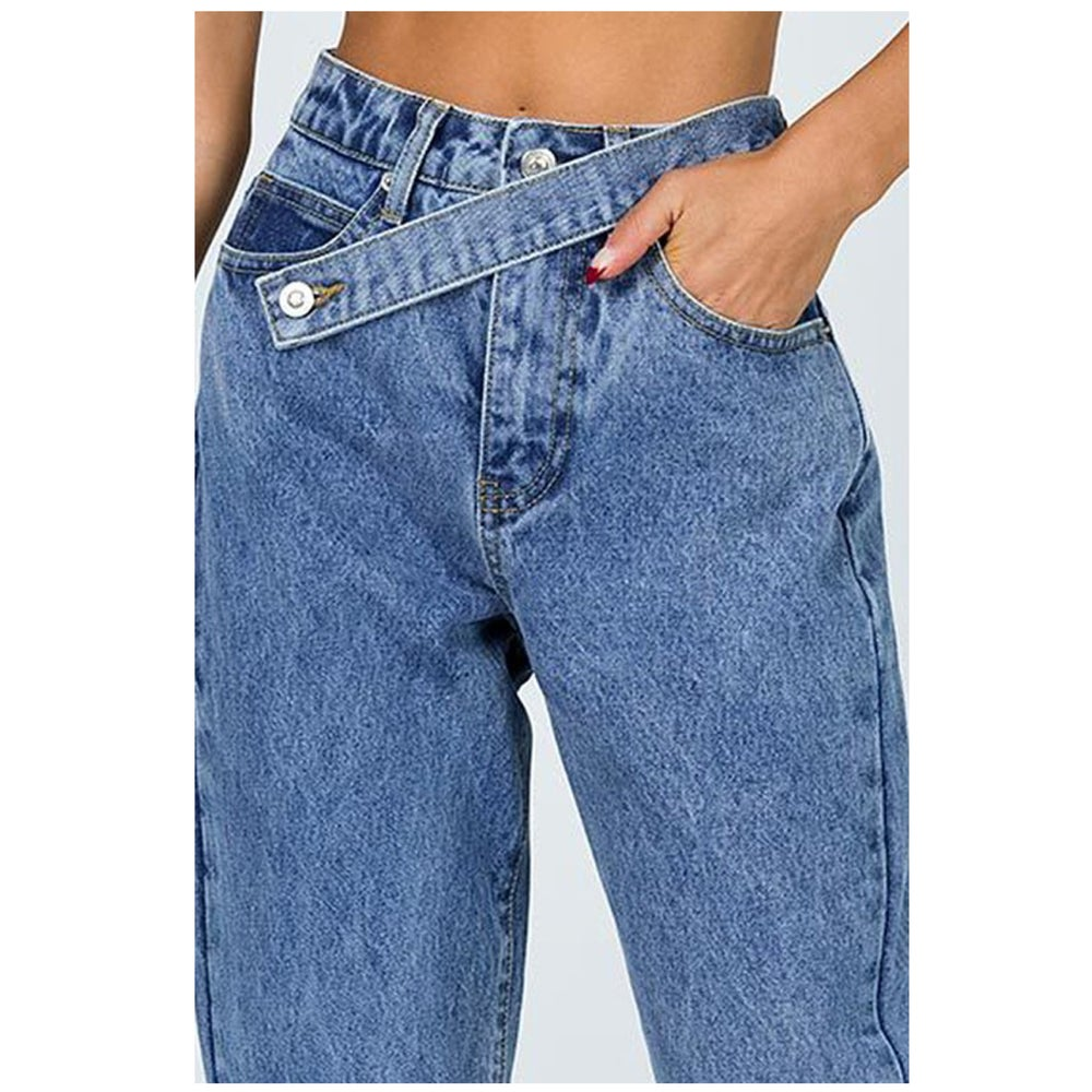 Image of ASYMMETRICAL BELTED DENIM JEANS