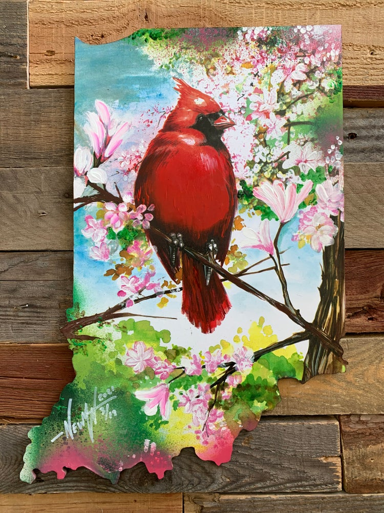 Image of Magnolia Cardinal ( Hand Painted Reproduction)