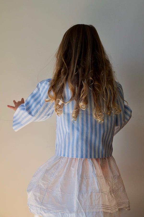 Image of Landhaus Floral & Stripe Blouse Blue