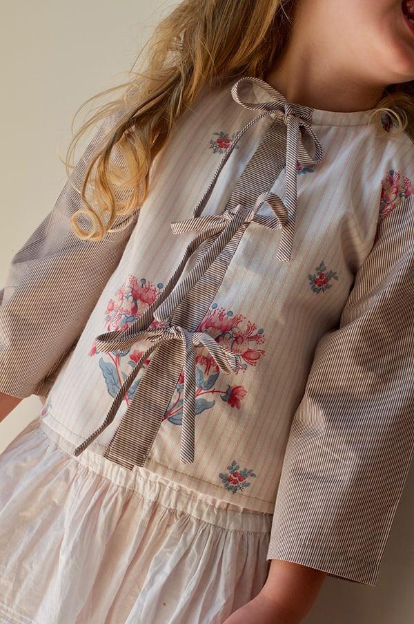 Image of Landhaus Floral & Stripe Blouse Pink