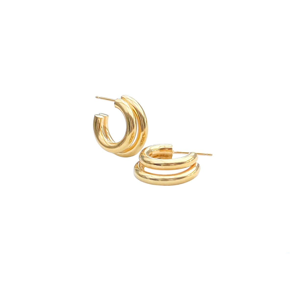 Image of Gold chunky double hoops