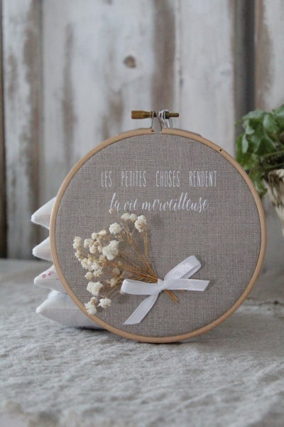 Image of Cadre tambour lin naturel/bouquet (CDRLINLPC2)