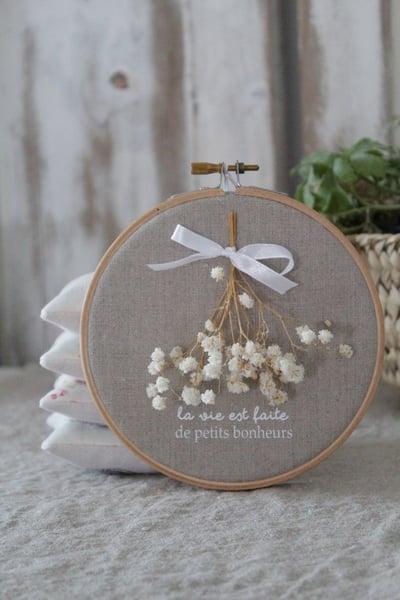 Image of Cadre tambour lin naturel/bouquet (CDRLINLVPB2