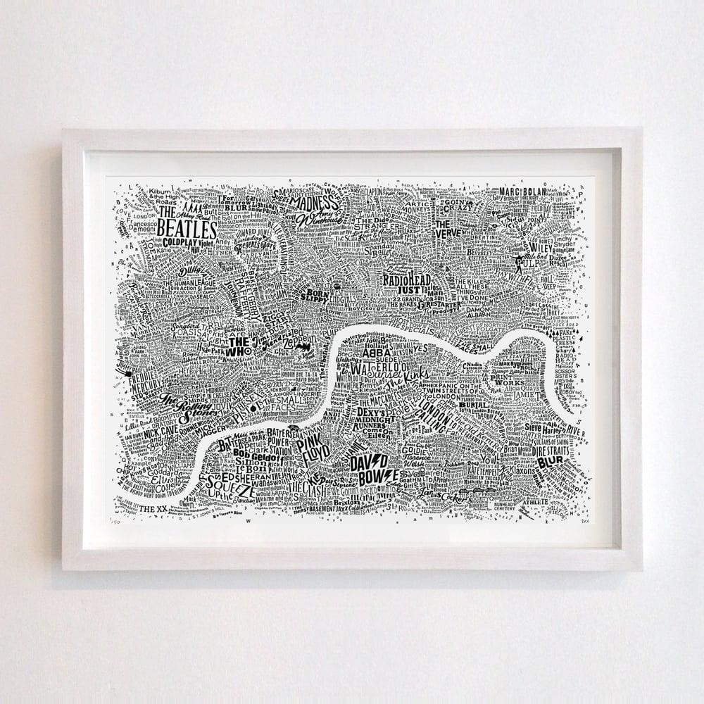 Music Map Of London (White)