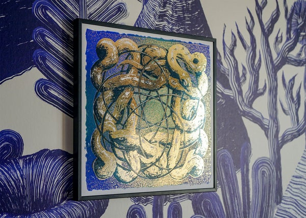 "Image of silkscreen print ""plastic snakes"" (gold)"