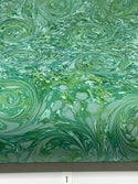 Marbled Paper Floral Swirls on Forest Green - 1/2 sheets