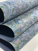 Marbled Paper Floral Swirls on Imperial Blue - 1/2 sheets