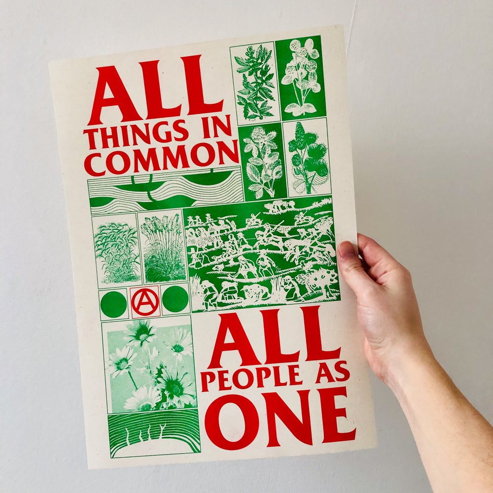 Image of All Things In Common, All People As One A3 riso print