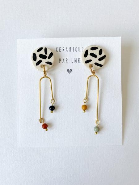 Image of Paire de boucles d'oreilles céramique et plaqué or PERLA ***