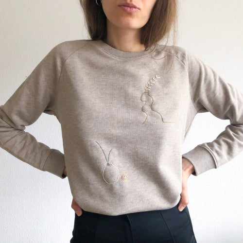 Image of Two vases - hand embroidered organic cotton sweatshirt, available in ALL sizes