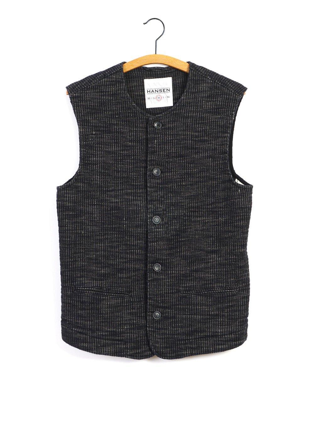 Hansen Garments BEN   Crew Neck Waistcoat   Black Hemp