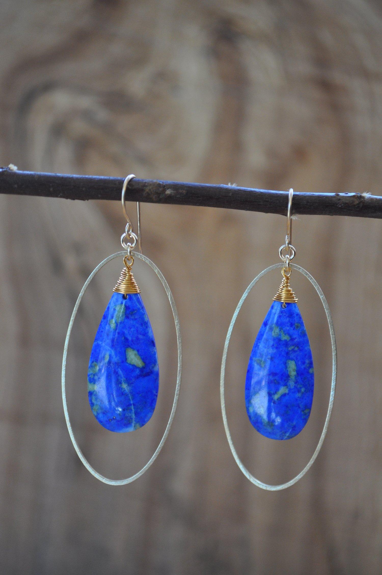 Image of Lapis Lazuli Oval Hoops