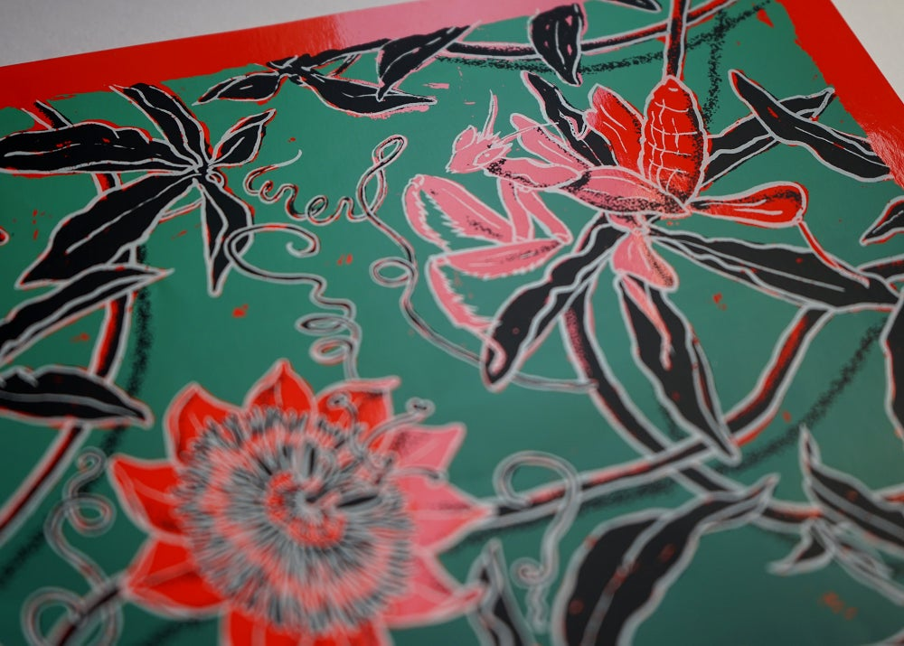 "Image of silkscreen print ""Orchid mantis"" (red)"