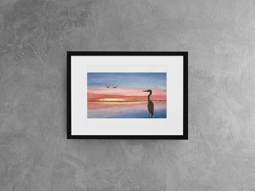 Image of Blue Heron at Sunrise