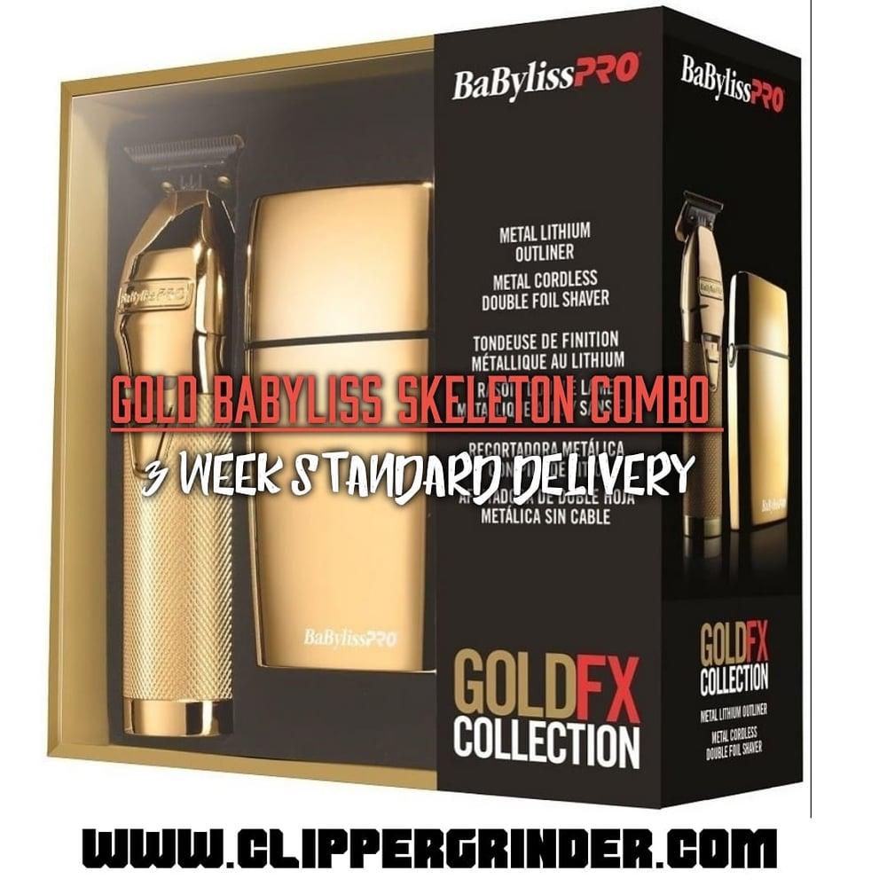 Image of (3 Week Delivery/High Order Volume) Gold Skeleton Trimmer W/Modified Blade & Babyliss Foil Shaver
