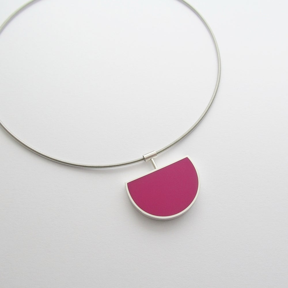 Image of Large Silver Eclipse Pendant in Pinkpop Pink