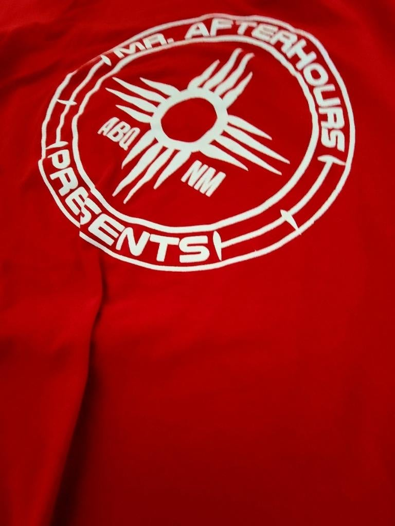 Mr. Afterhours White on Red Tee