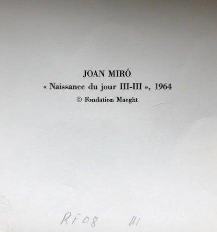 Image of joan miro / naissance du jour III - III / 23/109