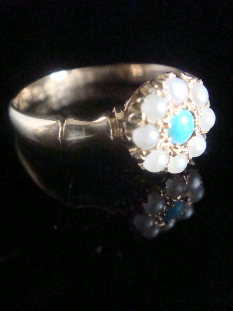 Image of Victorian 18ct yellow gold turquoise and pearl cluster on bamboo shank ring