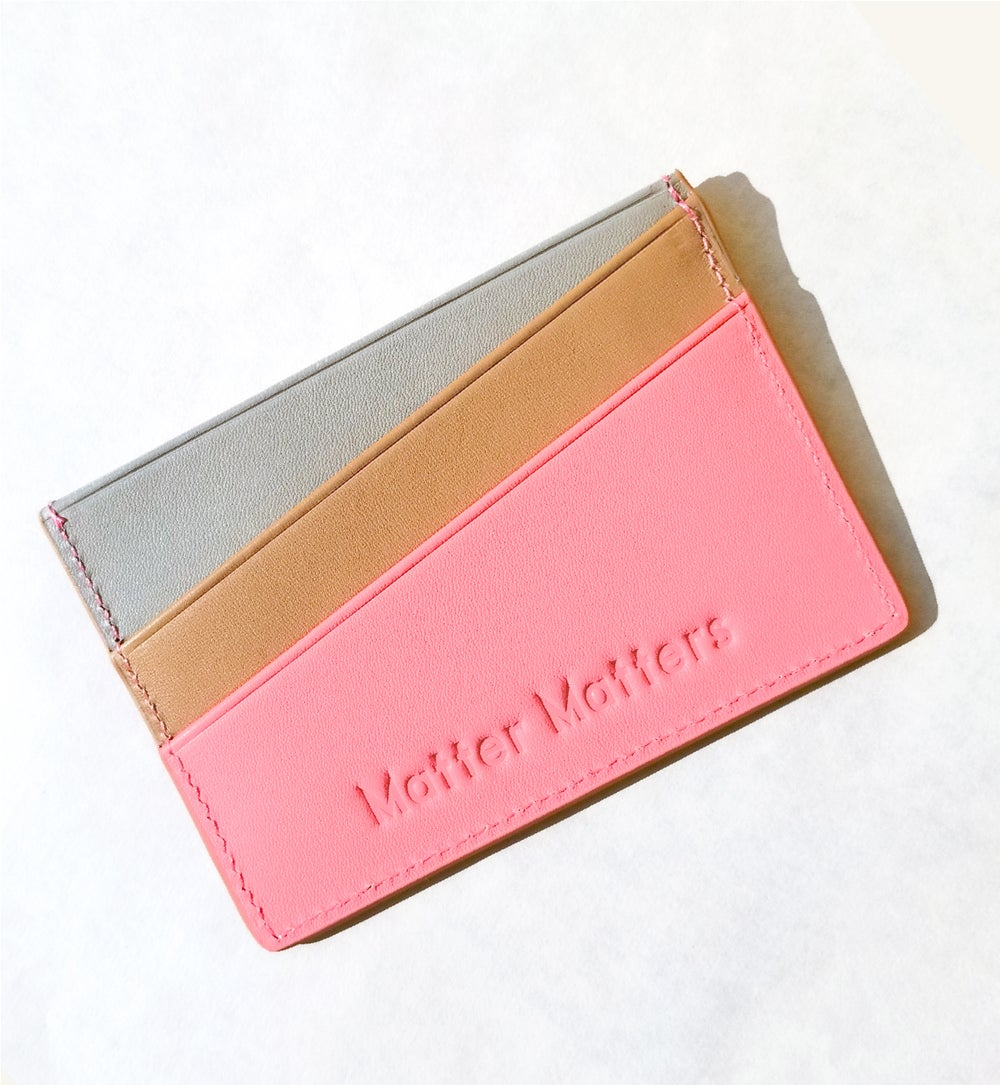 'Good Enough ' Multicolor card case - Peach