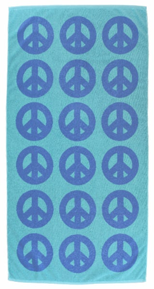 Image of PEACE Towel <div> French Blue & Aqua</div>