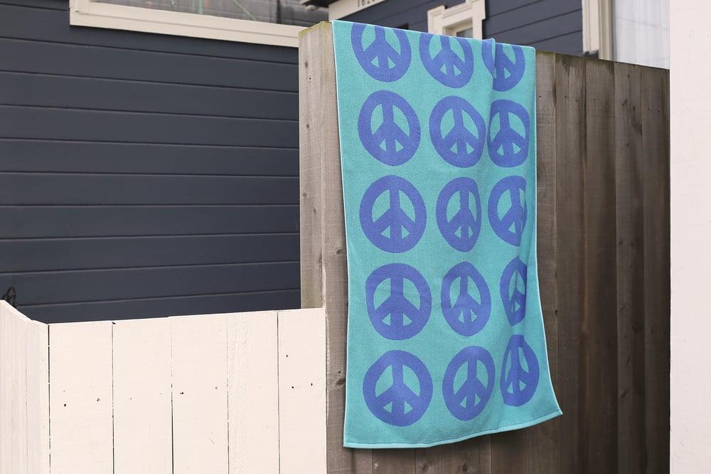 Image of PEACE Towel <div> French Blue & Aqua</div>