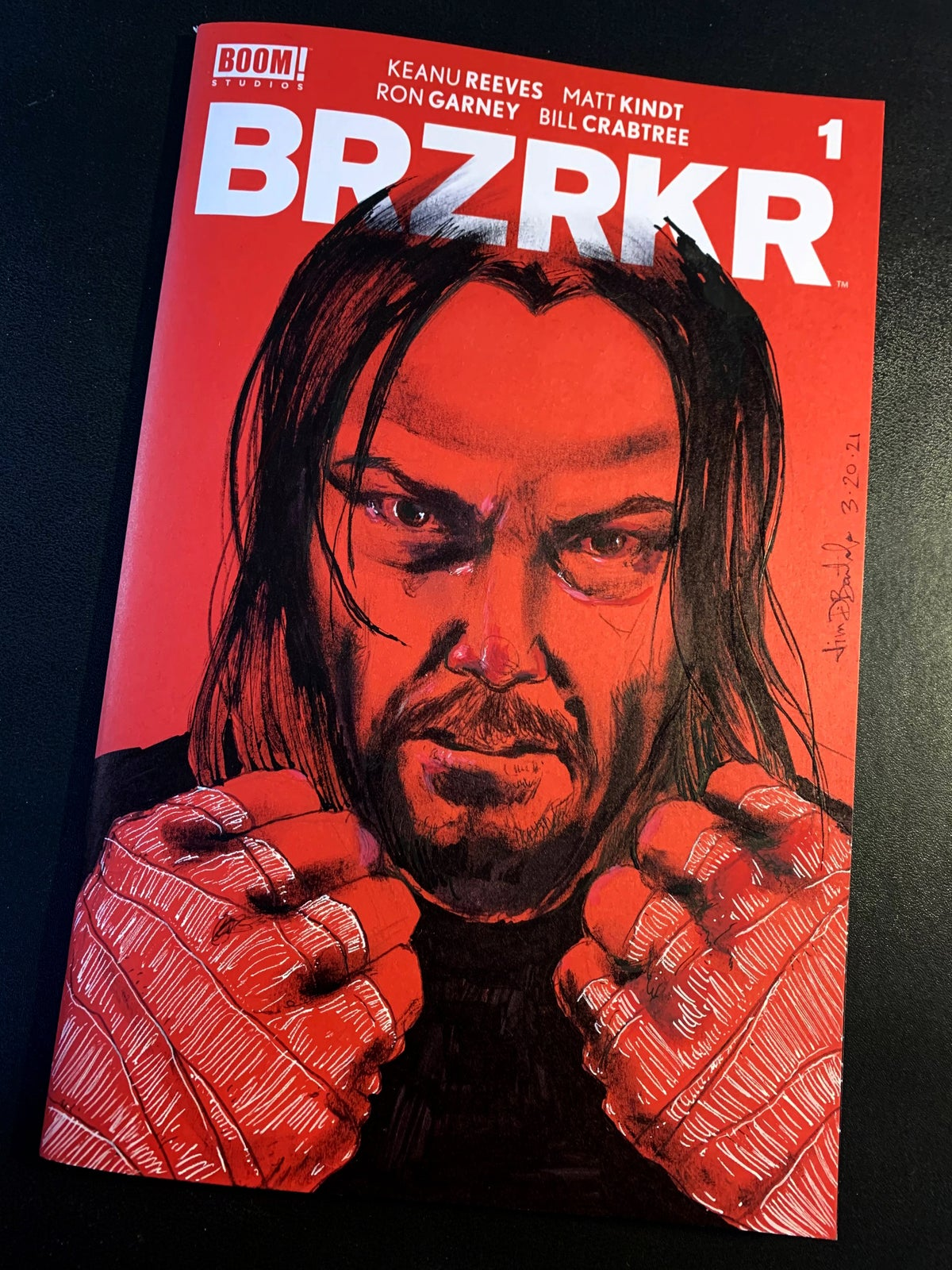 Keanu (fists) on BRZRKR comic book sketch cover (original art drawn directly on cover)