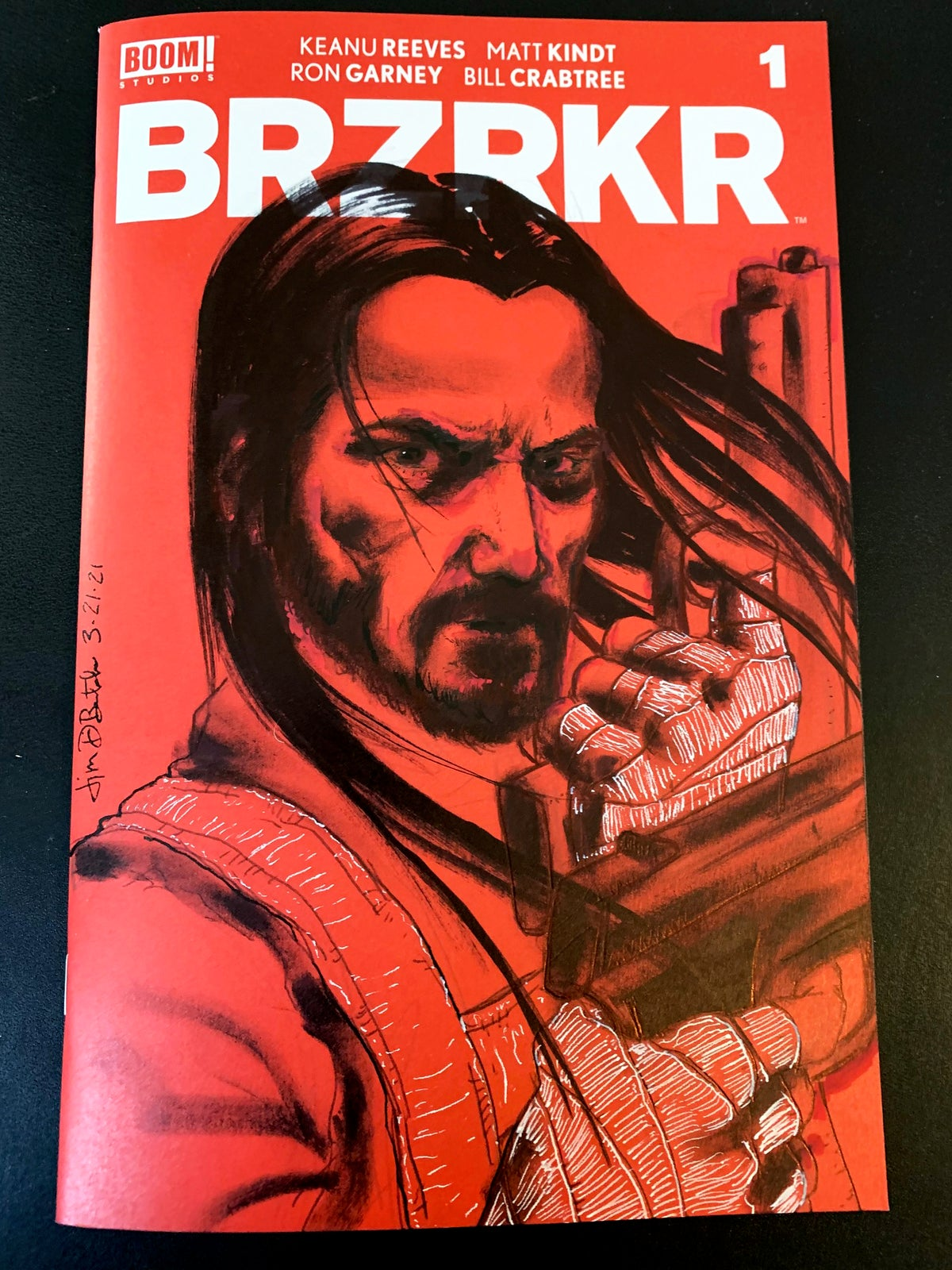 Keanu (double guns) on BRZRKR comic book sketch cover (original art drawn directly on cover)