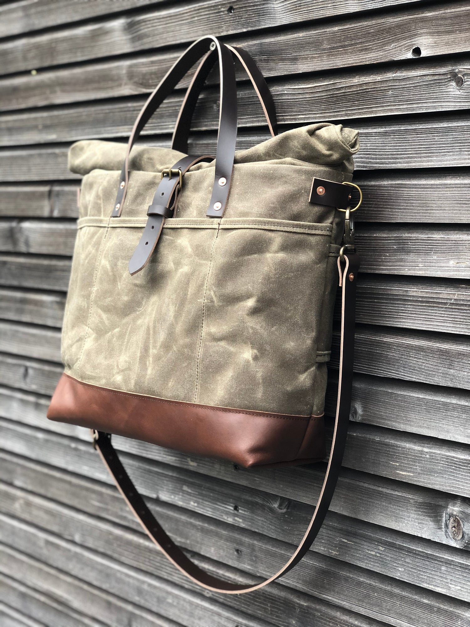 Image of Waxed canvas roll top tote bag / office bag with luggage handle attachment leather handles and shoul