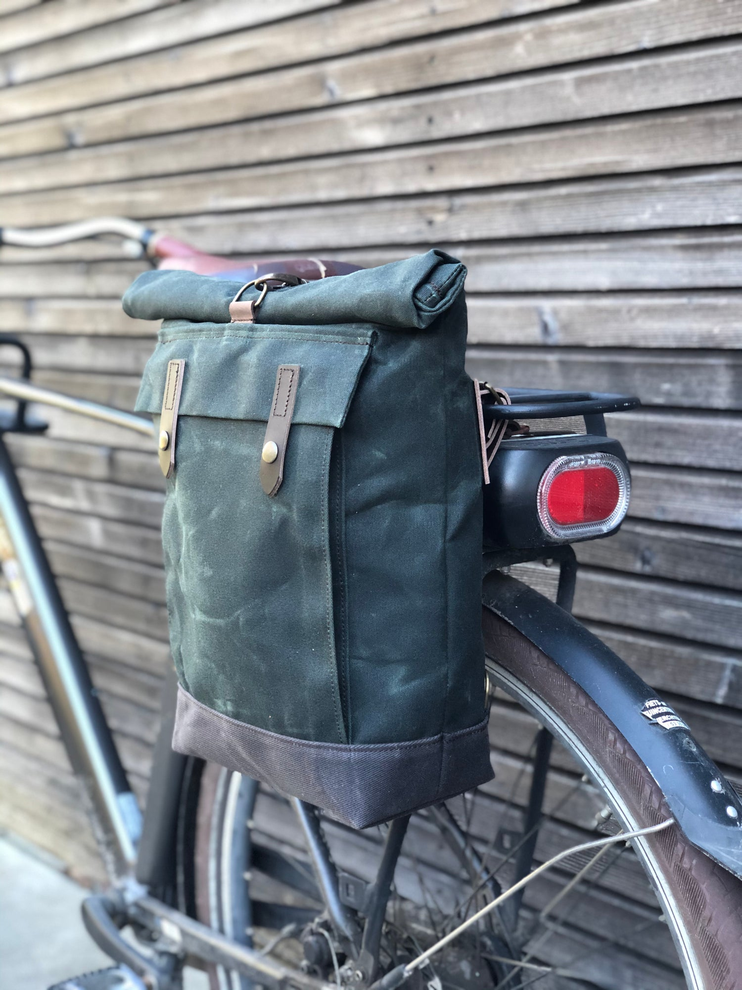 Image of E-bike pannier / Electric bike bag  / Bicycle bag in waxed canvas / Bike accessories