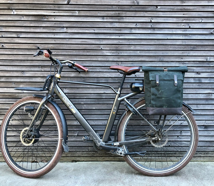 Image of E-bike pannier / Electric bike bag  / Bicycle bag in waxed canvas / Bike accessories