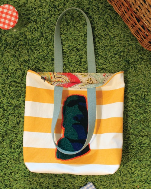 Image of EASTER ISLAND Yellow Striped REVERSIBLE Tote